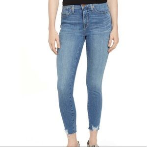 Caslon High Waist Stretch Raw Hem Skinny Jeans